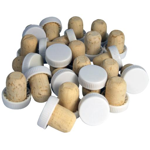 Plastic Top Corks 30's (White)